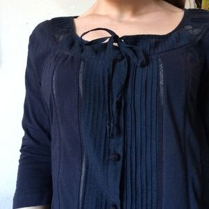 Anthropologie Tops - Anthropologie DELETTA Navy Blue Lace Detail Blouse